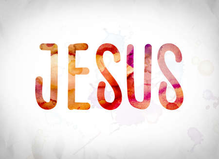 The word Jesus written in watercolor washes over a white paper background concept and theme. Stock Photo