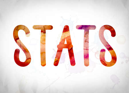 credentials: The word Statistics written in watercolor washes over a white paper background concept and theme.