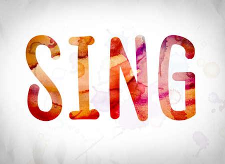 """letras musicales: La palabra """"Sing"""" escrito en lavados de la acuarela sobre un fondo de papel blanco concepto y tema."""