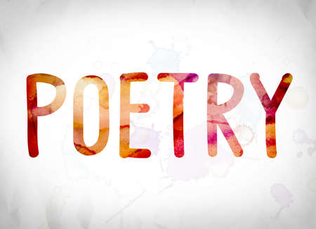 poems: The word Poetry written in watercolor washes over a white paper background concept and theme.