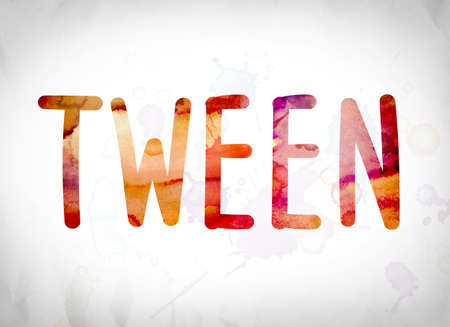 youthfulness: The word Tween written in watercolor washes over a white paper background concept and theme.