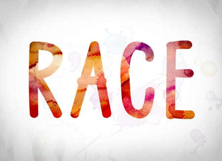 """Het woord """"Race"""" geschreven in aquarel wast over een Witboek achtergrond concept en thema."""