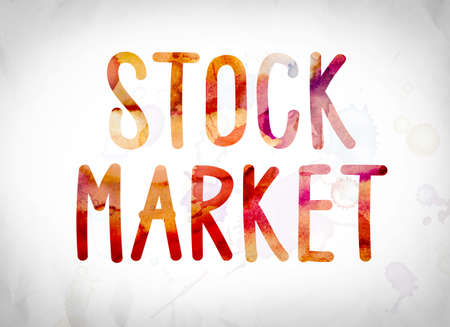 wallstreet: The word Stock Market written in watercolor washes over a white paper background concept and theme.