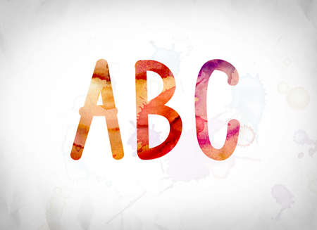 The word ABC written in watercolor washes over a white paper background concept and theme.