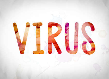 The word Virus written in watercolor washes over a white paper background concept and theme. Stock Photo