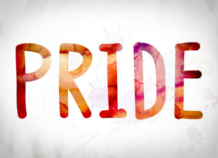 boastful: The word Pride written in watercolor washes over a white paper background concept and theme.
