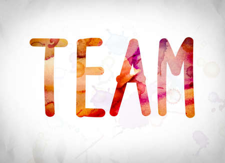 teammate: The word Team written in watercolor washes over a white paper background concept and theme.