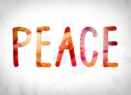 The word Peace written in watercolor washes over a white paper background concept and theme.