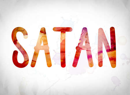 The word Satan written in watercolor washes over a white paper background concept and theme.