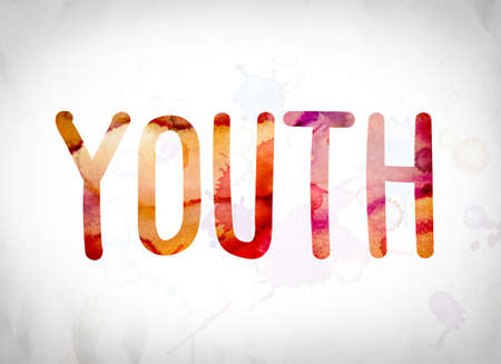 The word Youth written in watercolor washes over a white paper background concept and theme.