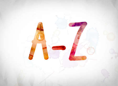 The word A-Z written in watercolor washes over a white paper background concept and theme.
