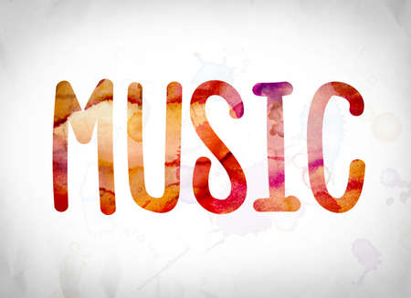 The word Music written in watercolor washes over a white paper background concept and theme. Stock Photo