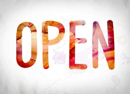 """Het woord """"Open"""" geschreven in aquarel wast over een Witboek achtergrond concept en thema."""