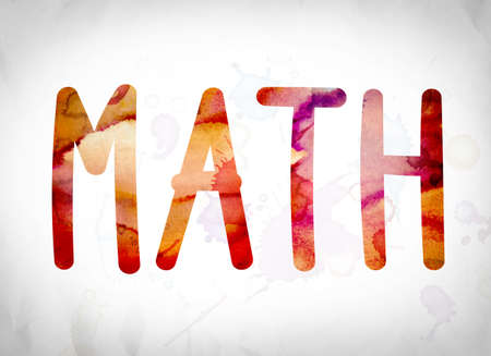 The word Math written in watercolor washes over a white paper background concept and theme.