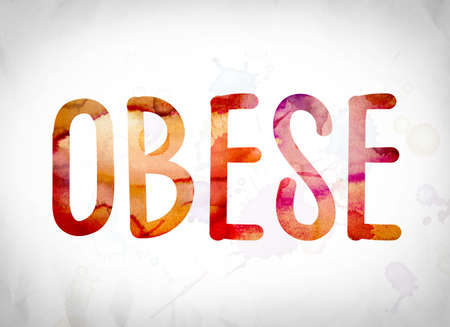 obesidad infantil: The word Obese written in watercolor washes over a white paper background concept and theme. Foto de archivo
