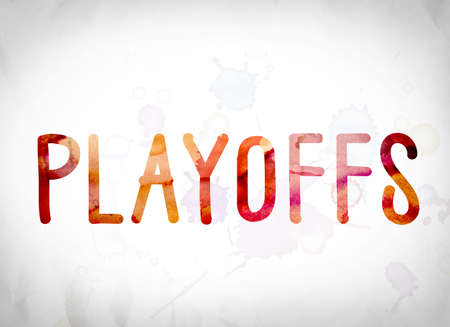 The word Playoffs written in watercolor washes over a white paper background concept and theme. Stock Photo