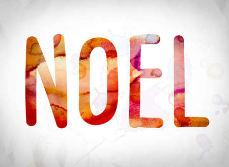 ballad: The word Noel written in watercolor washes over a white paper background concept and theme.