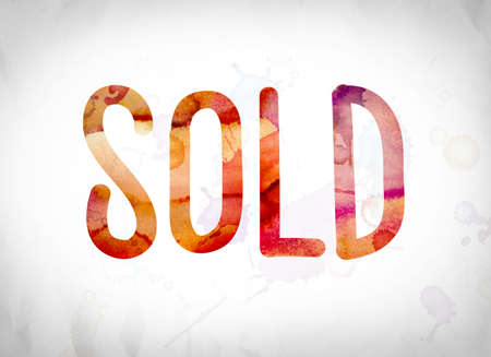 selling service: The word Sold written in watercolor washes over a white paper background concept and theme.