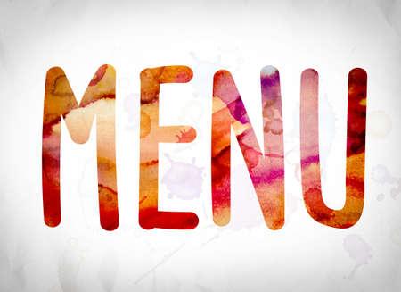 """Het woord """"Menu"""" geschreven in aquarel wast over een Witboek achtergrond concept en thema. Stockfoto"""