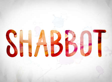 The word Shabbot written in watercolor washes over a white paper background concept and theme.