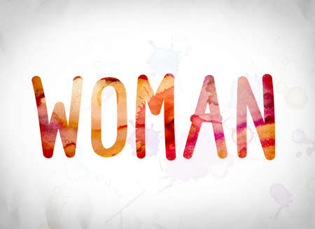 The word Woman written in watercolor washes over a white paper background concept and theme.