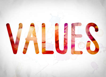 The word Values written in watercolor washes over a white paper background concept and theme. Stock Photo
