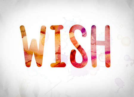 The word Wish written in watercolor washes over a white paper background concept and theme.
