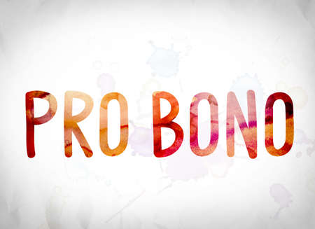 The word Pro Bono written in watercolor washes over a white paper background concept and theme.