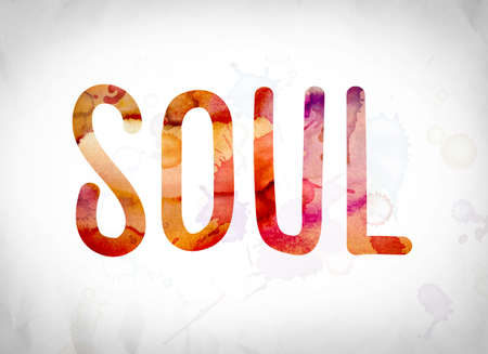 The word Soul written in watercolor washes over a white paper background concept and theme.