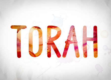 The word Torah written in watercolor washes over a white paper background concept and theme.