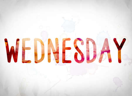 wednesday: The word Wednesday written in watercolor washes over a white paper background concept and theme. Stock Photo