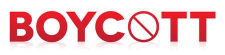 Het woord boycot geschreven in rode letters en geïsoleerd op een witte achtergrond illustratie. Stock Illustratie