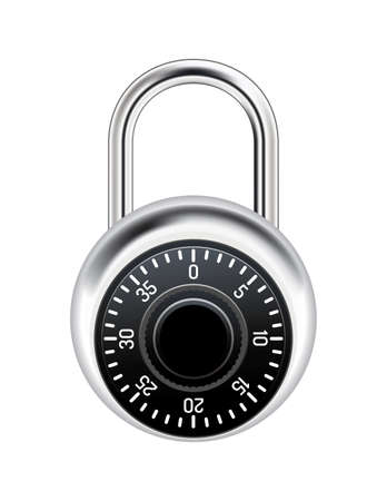 A realistic metal combination lock isolated on white illustration.