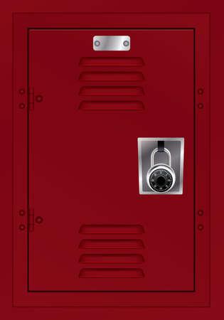 A door to a red metal locker with a combination lock.