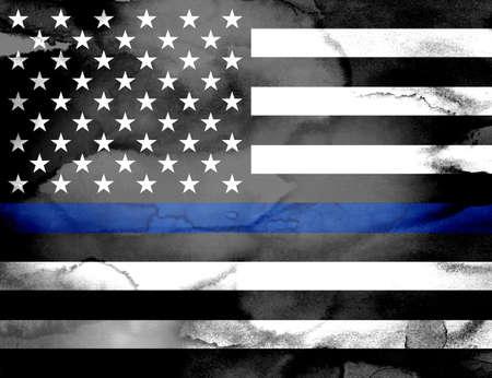 Una bandera de la ayuda de la policía con una línea azul pintada con los lavados de la pintura de la acuarela. Foto de archivo - 64365153