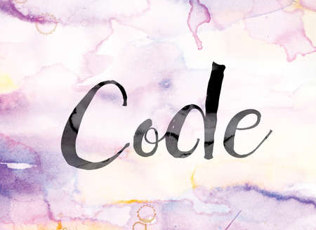 secret code: The word Code painted in black ink over a colorful watercolor washed background concept and theme. Stock Photo