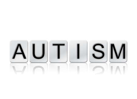 developmental disorder: The word Autism written in tile letters isolated on a white background. Stock Photo