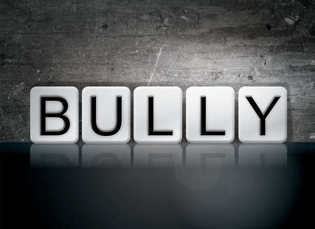 torment: The word Bully written in white tiles against a dark vintage grunge background.