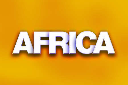The word Africa written in white 3D letters on a colorful background concept and theme.