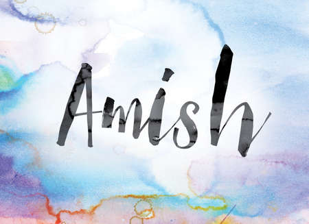 The word Amish painted in black ink over a colorful watercolor washed background concept and theme. Stock Photo