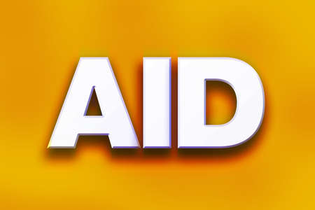 The word Aid written in white 3D letters on a colorful background concept and theme.