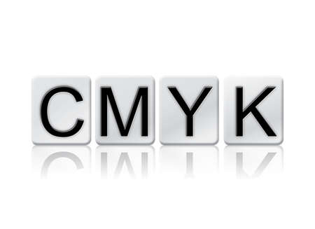 The word CMYK written in tile letters isolated on a white background.