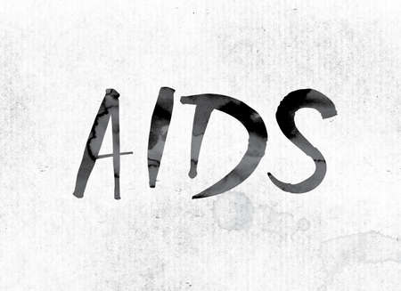 The word AIDS concept and theme painted in watercolor ink on a white paper.