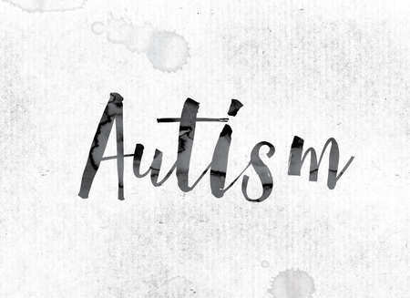 developmental disorder: The word Autism concept and theme painted in watercolor ink on a white paper.