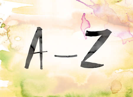 The word A-Z painted in black ink over a colorful watercolor washed background concept and theme.
