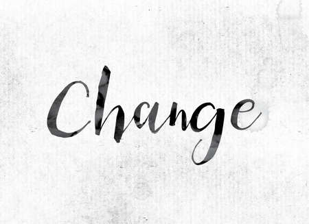 The word Change concept and theme painted in watercolor ink on a white paper.