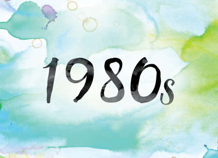 The word 1980s painted in black ink over a colorful watercolor washed background concept and theme.