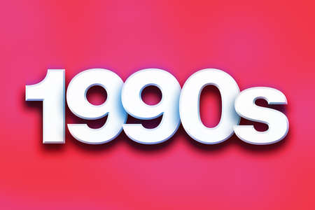 decade: The word 1990s written in white 3D letters on a colorful background concept and theme.