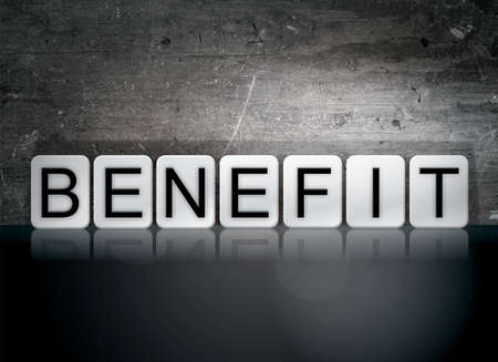 insurance themes: The word Benefit written in white tiles against a dark vintage grunge background. Stock Photo