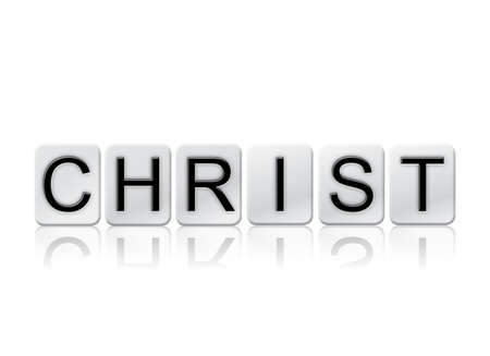 jehovah: The word Christ written in tile letters isolated on a white background.
